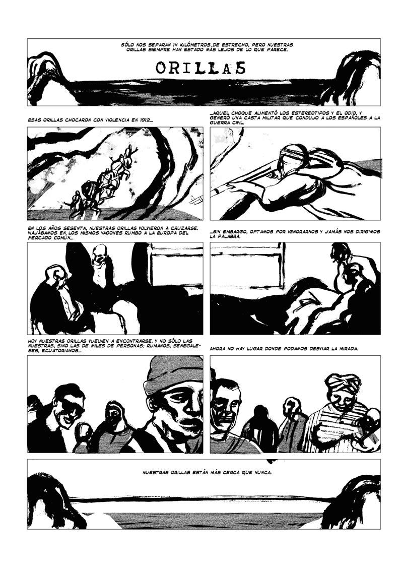 historieta inédita realizada por Jorge y Fidel para una exposición sobre inmigración