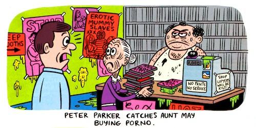 Peter Parker pilla a Tia May comprando porno
