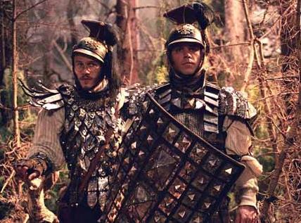Heath Ledger y Matt Damon como los Jacob y Will Grimm
