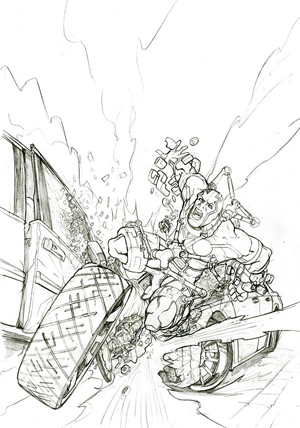 Boceto de Seven Soldiers Mr Miracle #3 por Freddie E. Williams III