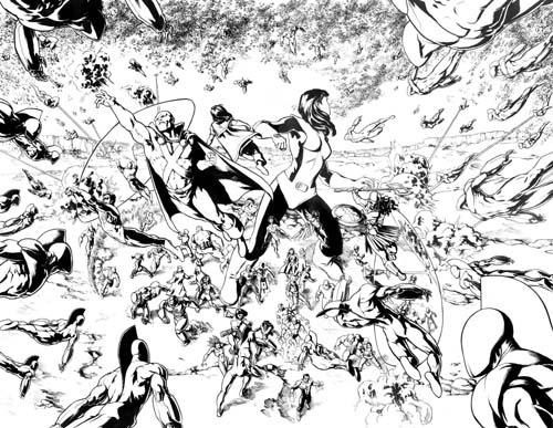 Jesus Saiz Página a lápiz y tinta de Omac Project #6.