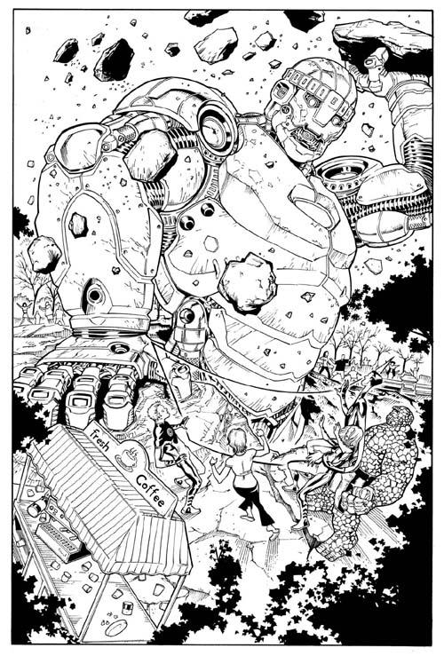 Raul Fernández: Tintas para Marvel Adventures Fantastic Four #4.
