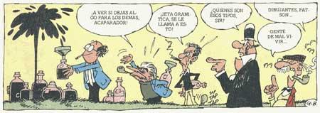 Ibáñez, Escobar y Raf dibujados por el mismo Raf en una tira de Sir Tim O'Teo