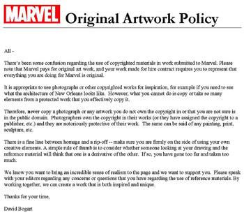 Comunicado interno de Marvel