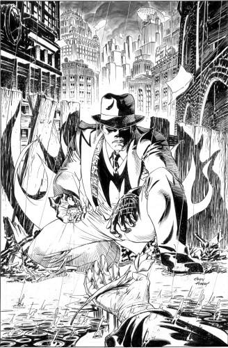 Lápices y tintas de Andy Kubert para la portada de Return of Bruce Wayne #5