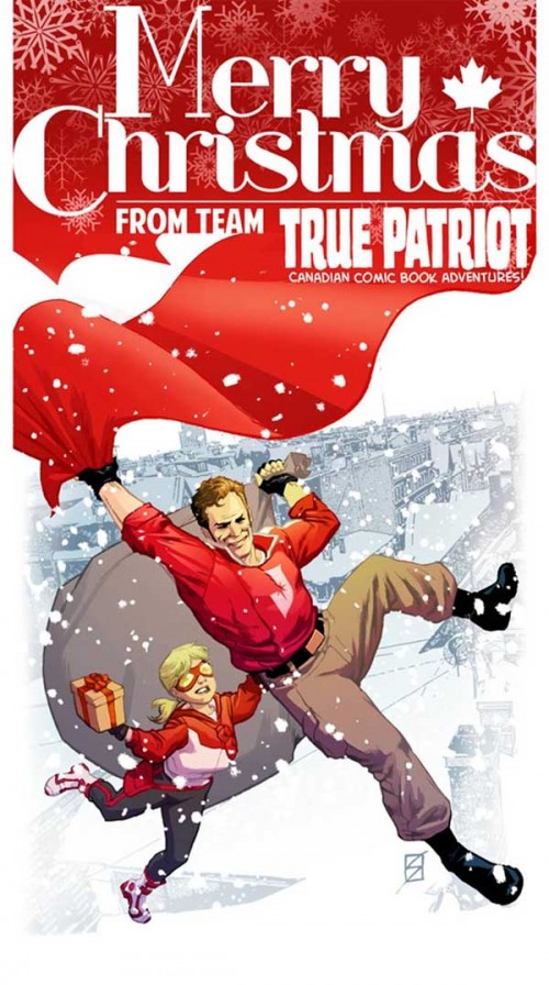 Postal de los chicos de True Patriot (una antología de superhéroes canadienses), dibujada por Ron Salas.