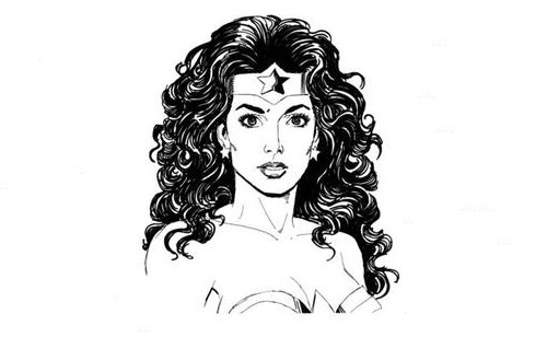 Boceto del retrato de Wonder Woman por George Pérez