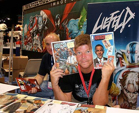 El dibujante Rob Liefeld promocionando sus Youngblood