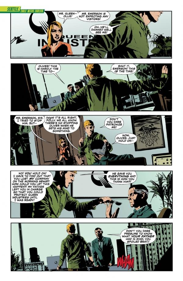 Segunda parte de la previa de Green Arrow #17. Algo malo se está cociendo en las oficinas de Industrias Queen.
