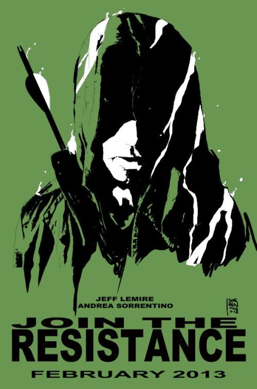 Cartel promocional creado por Andrea Sorrentino y primera y reveladora página del cómic.