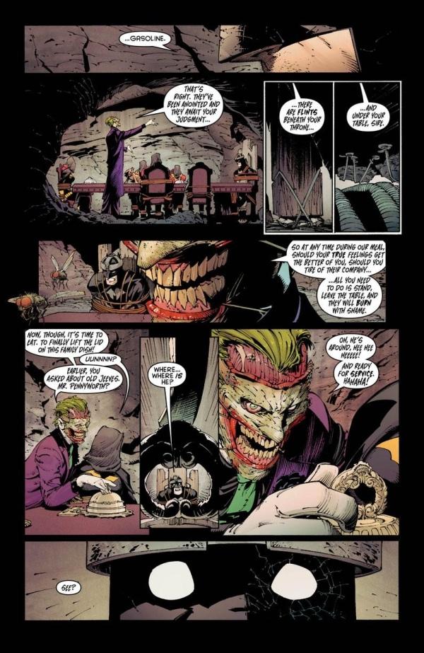 Última página de la previa (Greg Capullo) y portada de Batman #18 (Andy Kubert). ¿Qué hay en la bandeja?