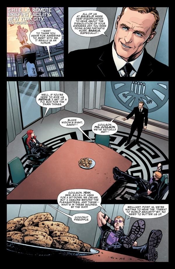 Previa de Secret Avengers #1, por Luke Ross. Ojo de Halcón y la Viuda Negra se reúnen con el Agente Coulson.