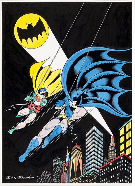 Ilustración de Dick Sprang con Batman, Robin y Gotham City al fondo