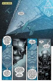 Darth Vader sufriendo la reprimenda del Empreador  en el Star Wars de Brian Wood