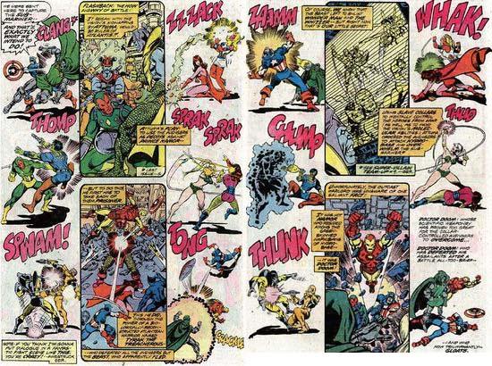 Espectacular doble página de George Pérez para The Avengers 155 USA