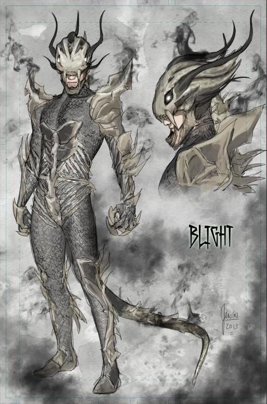 Diseño de Blight obra de Mikel Janín y su presencia en la portada de Phantom Stranger #15 (Guillem March)