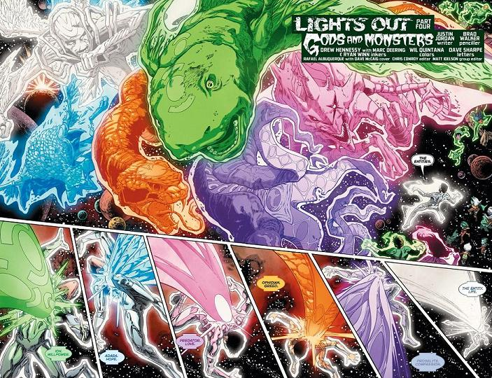 Doble página del Green Lantern: New Guardians #24 por Brad Walker.
