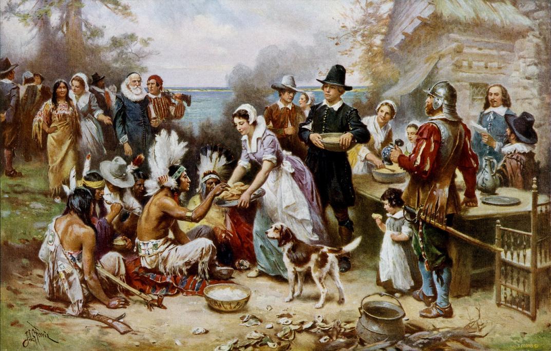 The First Thanksgiving 1621, por Jean Leon Gerome Ferris