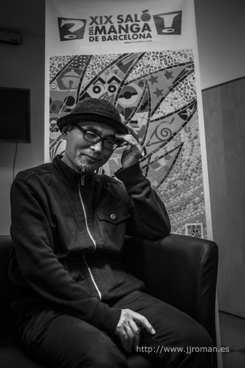 Shintaro Kago preparado para la entrevista. Foto de J.J. Román.