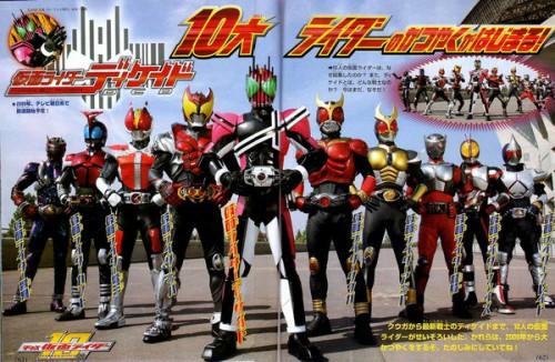 Los 10 primeros Kamen Rider de la era Heisei.