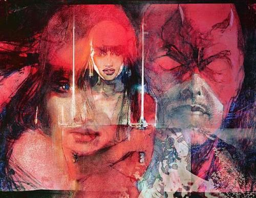 Bella ilustración de Bill Sienkiewicz rememorando a Elektra