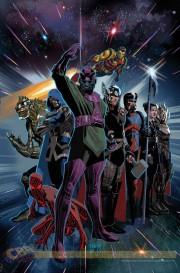 Los Chronos Corps en Imposibles Vengadores 19, con Iron Man 2010 de fondo.