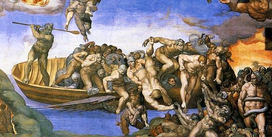 Parte inferior derecha de El Juicio Final de Miguel Ángel en la Capilla Sixtina