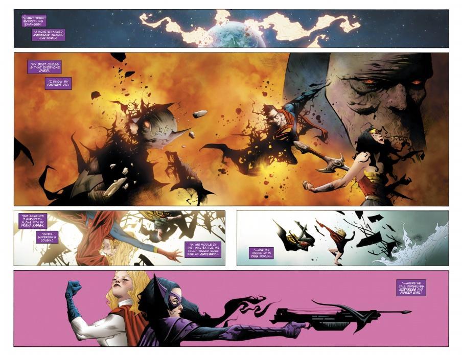 Página doble con la historia de Power Girl y Huntress