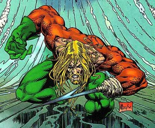 El Aquaman de Peter David adquirió una estética radical donde incluso llegó a perder el brazo