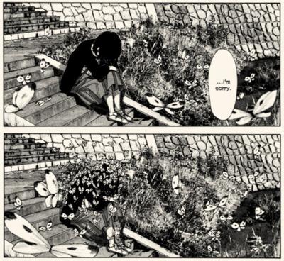 Una de las extrañas escenas de Nijigahara Holograph