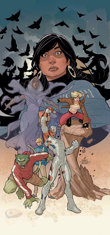 Portada del Teen Titans: Earth One Vol 1 por Terry Dodson y Rachel Dodson
