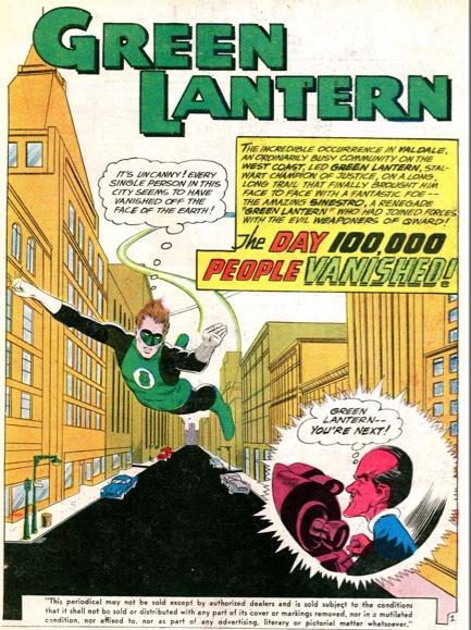 Primera aparición de Sinestro en Green Lantern #7, en 1961