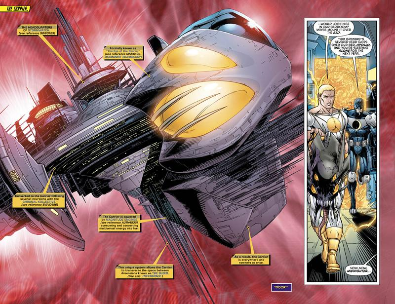 Una doble-página del Stormwatch #30 por Jeremy Roberts.
