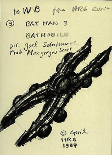 Boceto de Giger para el Batmóvil de Batman Forever