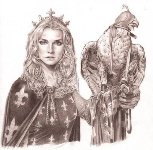 Boceto a lápiz de Jaime Calderón para Isabel, La Loba de Francia