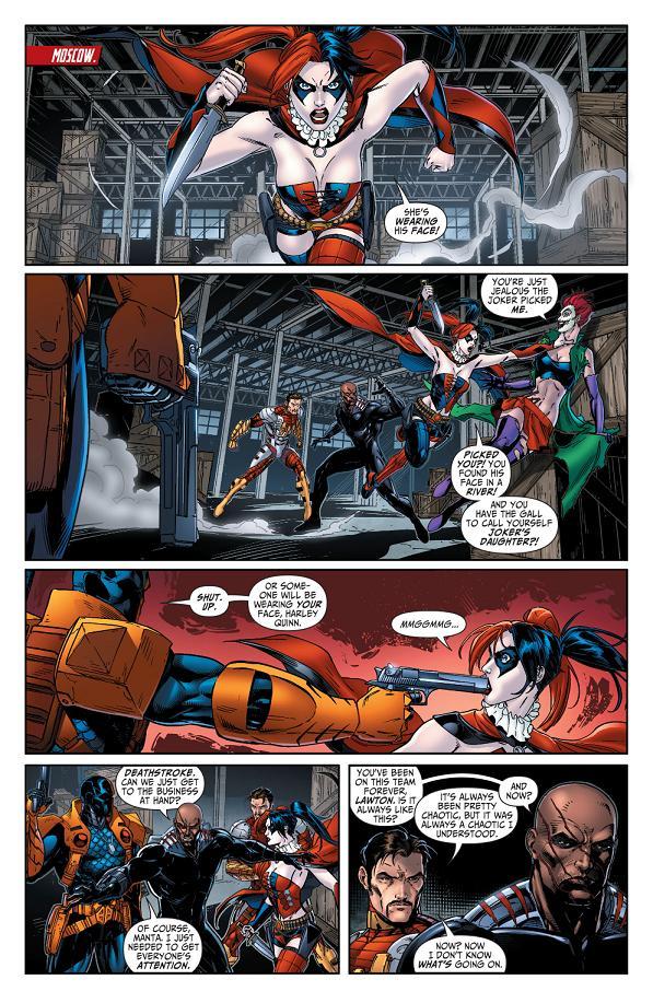 Harley Quinn antes y ahora, ambas por Jeremy Roberts