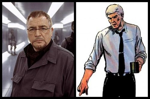 Brian Cox como William Stryker y su contrapartida en el cómic