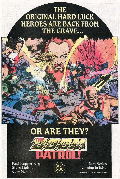 Poster promocional de la Doom Patrol de Paul Kupperberg