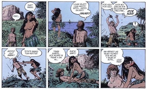 La bella indígena otea la llegada de un barco a la isla donde desterraron al contable seductor