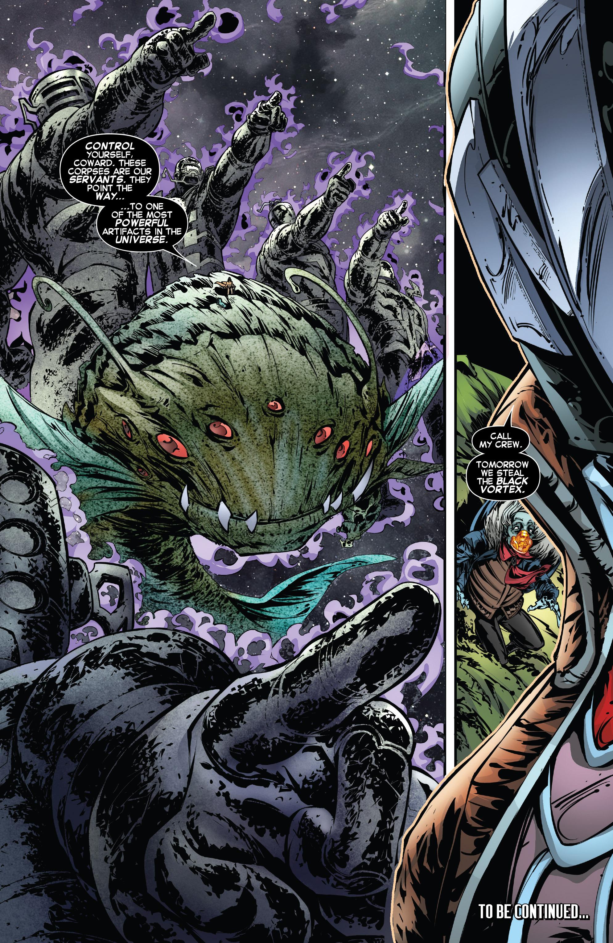 Mr. Knife menciona por primera vez el Black Vortex, en la última página de Legendary Starlord 4.