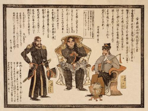 Mathew G. Perry (centro) fue uno de los responsables de la apertura de Japón.