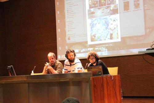 Imagen de la Charla de Pablo Durá y David Abadía y los autores posando para Zona Negativa