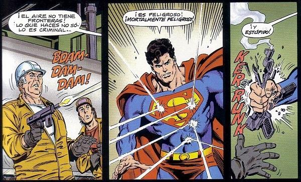 ¿Se cansarán algún día los malos de disparar inútilmente a Superman?