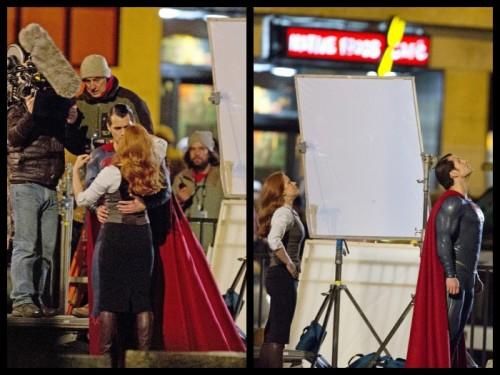 Cavill y Adams durante el rodaje de una escena