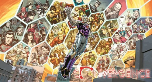 Algunos de los universos presentes en el evento junto con el nuevo villano, por Carlo Pagulayan