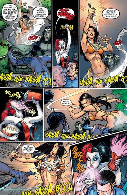 Página del Harley Quinn #5 disfrutando de un show burlesque como la que más