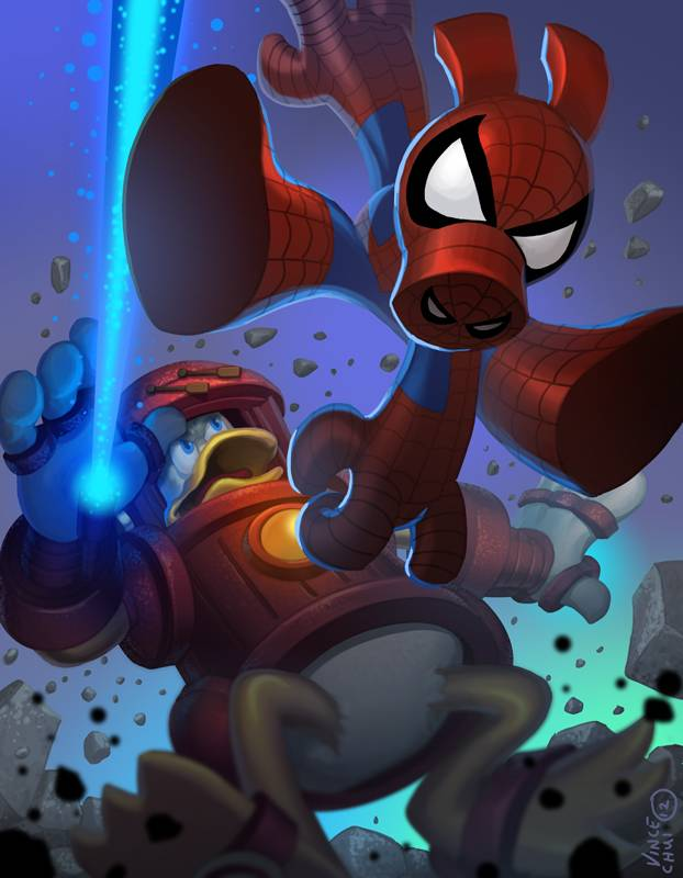 2489249-spiderham_vs_iron_duck_by_kidchuckle_d4wgilx_1_