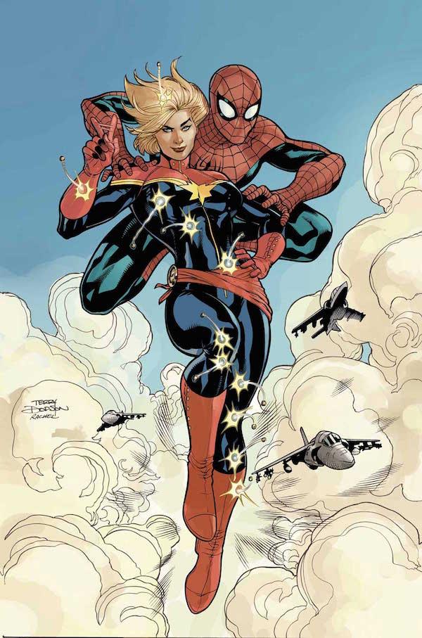 Esto podría pasar. Y lo sabes. Y mola mogollón. / Spider-Man y la Capitana Marvel por Terry Dodson.