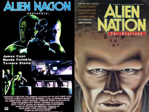 Poster de Alien Nación y portada del primer spinoff en cómic