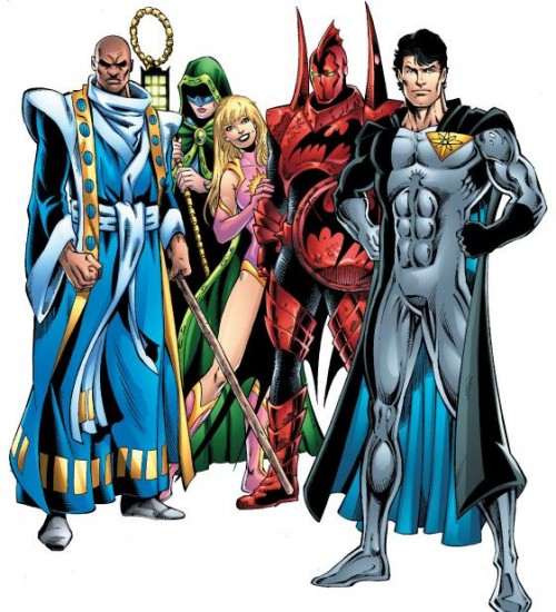 Tierra 9: Superman, Green Lantern, Flash, Batman y Atom